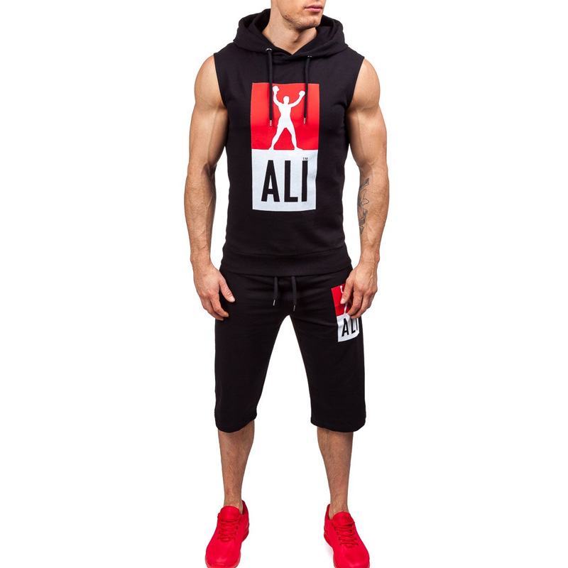 ZOGAA Mens Tracksuit Summer Fitness Sport Suits Set 2 Piece Sleeveless Hoodies Witth Shorts Men Fashion Solid Casual Sweatsuit