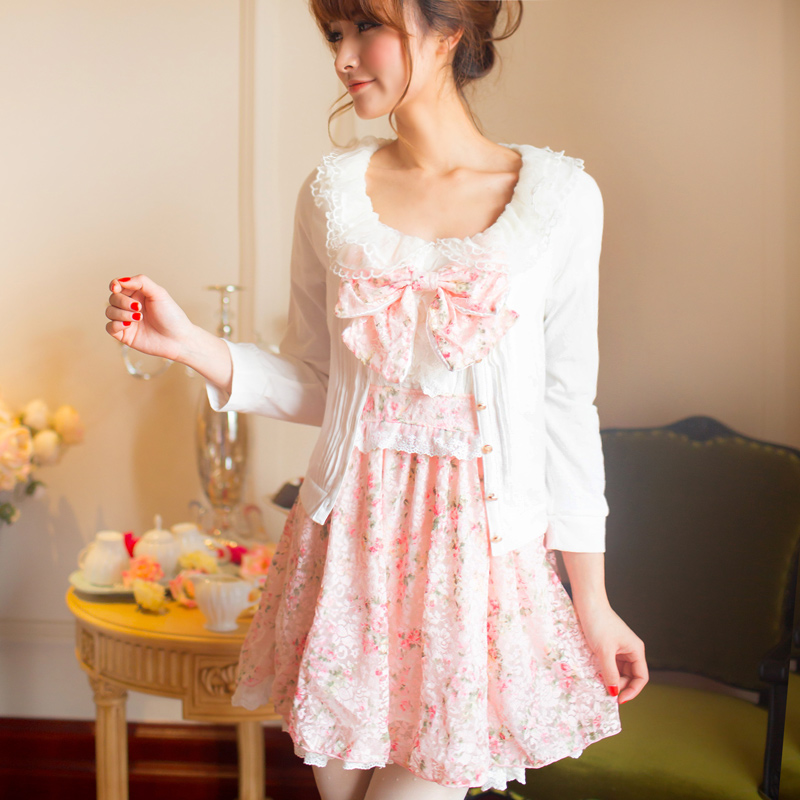 LIZ LISA lace lotus collar floral dress