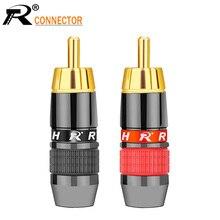 10 Paar/20Pcs Draad Connector Rca Male Plug Adapter Video/Audio Connector Ondersteuning 8Mm Kabel Zwart & Red