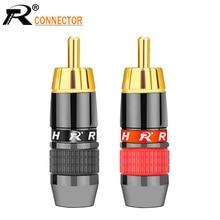 10pair/20pcs connettore del Cavo RCA spina maschio adattatore Video/Audio Supporto del Connettore 8 millimetri Cavo nero E rosso