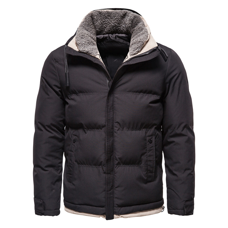 2020 New Plush Collar Winter Mens Jackets and Coats Stand Collar Mens Casual Slim Thicken Warm Parka Men Windbreaker Coat