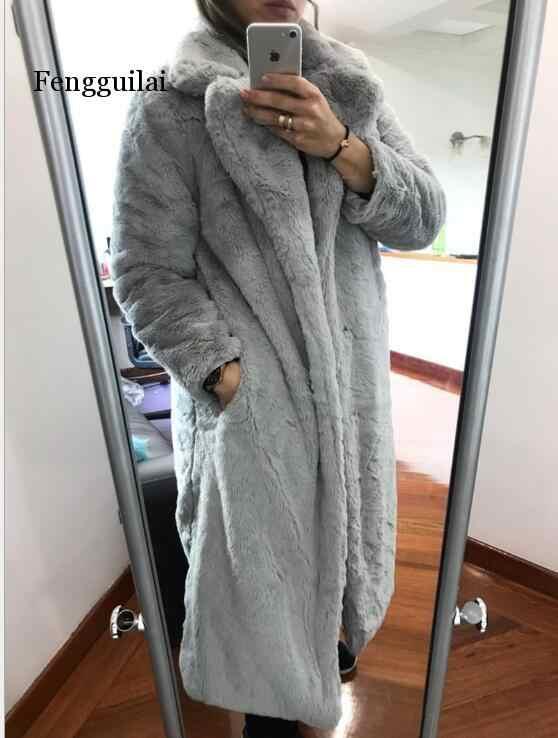 Kalın sıcak ceket Parkas kadın kış kadın taklit vizon puf ceket moda uzun kürk ceket uzun kollu gevşek dış giyim