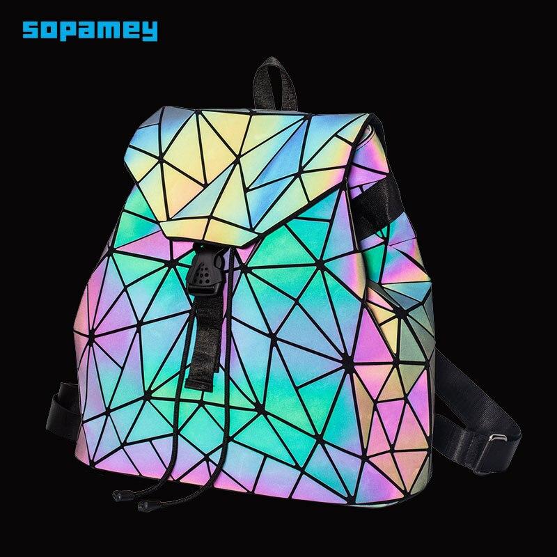 New Bao Backpacks Women Geometric Shoulder Bag Student's School Bag Hologram Luminous Backpack Laser Silver Backpack Mochilas