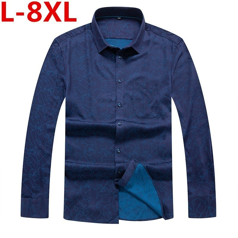 High Quality 8XL 7XL 6X Men's Shirt  Autumn And Winter Men Casual Long Sleeve Shirt Korean Slim Shirt Business Brand Dress Shirt