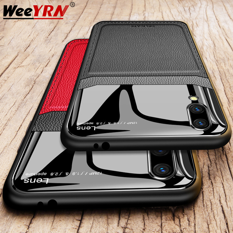 Silkscreen Mirror Leather Case For Xiaomi Redmi Note 7 Redmi 7 Note 8 Pro Back Luxury Case for Xiaomi Mi 8 Mi 9 T Mi9T Pro image