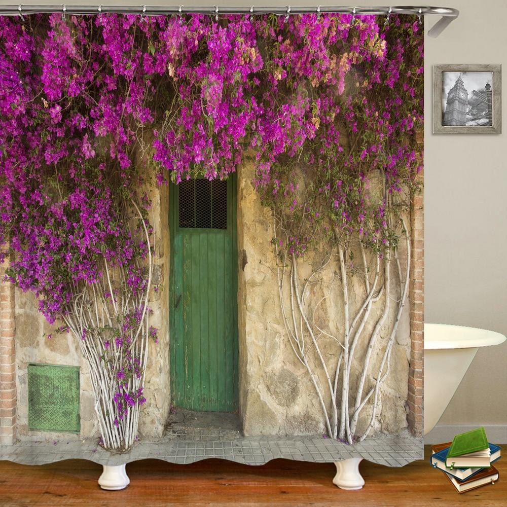 rural pastoral flower scenery shower curtains bathroom shower curtain 3D fabric bath curtain with hooks waterproof bath screen
