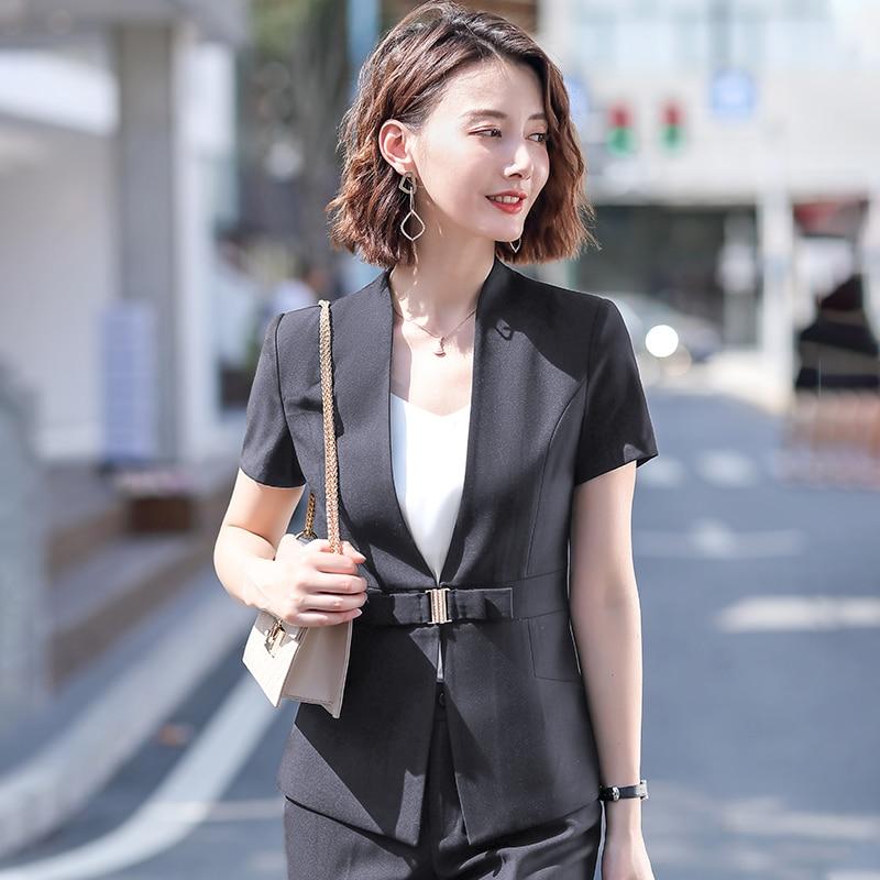 Female Elegant Formal Office Work Wear Summer Women Business Skirt Suits and Jacket Sets Ladies Clothes Short Sleeve Grey Blazer