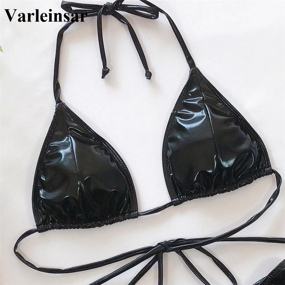 New Sexy 2020 PU Faux Leather Bikini Women Swimwear Female Swimsuit Two-pieces Bikini set Halter Bather Bathing Suit Swim V1842 3