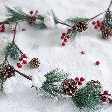 Рождественская гирлянда для торгового центра, украшение для двери в виде елки, венок с венком, Рождественский венок, ротанговый подвесной в...