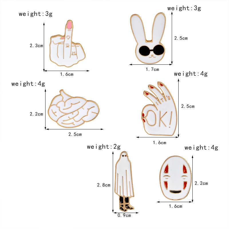 Freddo Risvolto Spilli Dito Medio No-face Occhiali Da Sole Del Coniglio Cervello Spille Distintivi e Simboli Zaino Smalto Spilli Gioielli Regali Per Gli Amici