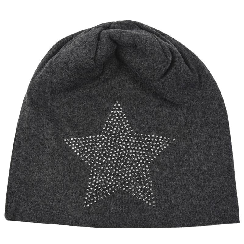 Unisex Men Women Classic Star Rhinestone Slouch Beanie Cap Cotton Hat
