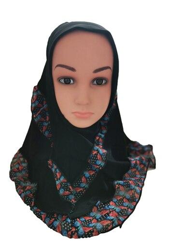 Image 4 - Fashion Kids Children Girls Muslim Flower Islamic Scarf Arabic  Shawls Hats Arab Headscarf Head Cover Headwrap Caps Patchwork NewHats