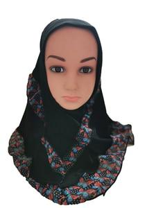 Image 4 - Fashion Kids Children Girls Muslim Flower Islamic Scarf Arabic Shawls Hats Arab Headscarf Head Cover Headwrap Caps Patchwork New