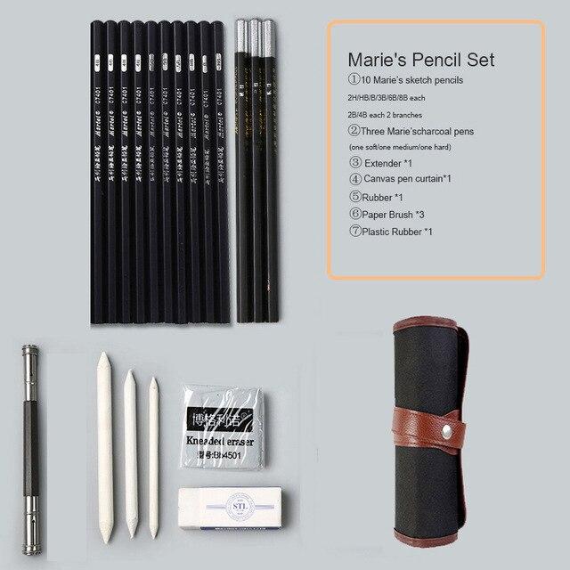 Marie's карандаш для эскизов набор эскизная ручка набор карандашей для рисования начинающих студентов профессиональный полный набор эскизов Пишущие принадлежности - Цвет: canvas curtain