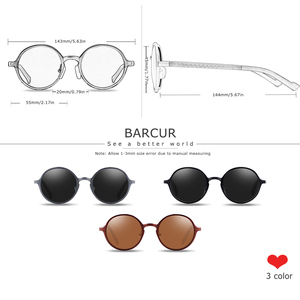 Image 5 - BARCUR Hot Black Goggle Male Round Sunglasses Luxury Brand Men Glasses Retro Vintage Women Sun Glasses UV400 Eyewear