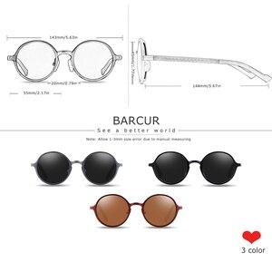 Image 5 - Barcur Hot Black Goggle Mannelijke Ronde Zonnebril Luxe Merk Mannen Bril Retro Vintage Vrouwen Zonnebril UV400 Eyewear