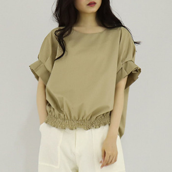 Women Summer Blouse Army Green Round Neck Short Flare Sleeve Office Lady Shirts Casual Loose Bowknot Blouse Minimalist army green round neck cold shoulder thermal top