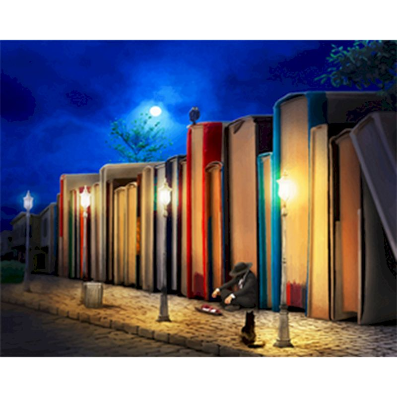 Paintings By Numbers late night reader scenery Oil HandPainted Color Animal  By Number Home Decortion ArtWork For Home gift art-0