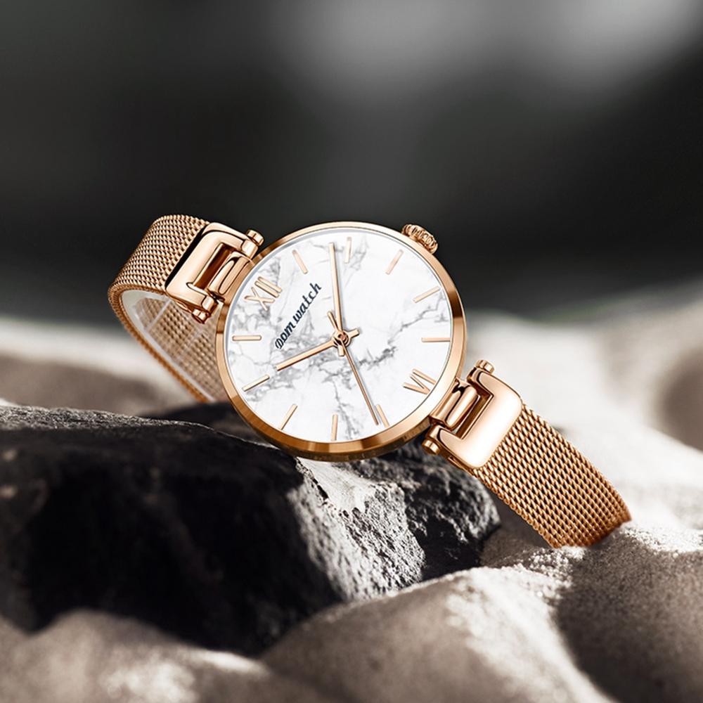 Dom Vrouwen Horloges Top Luxe Mode Vrouwelijke Quartz Horloge Dames Staal Waterdichte Klok Meisje Agaat Patroon Horloge - 4