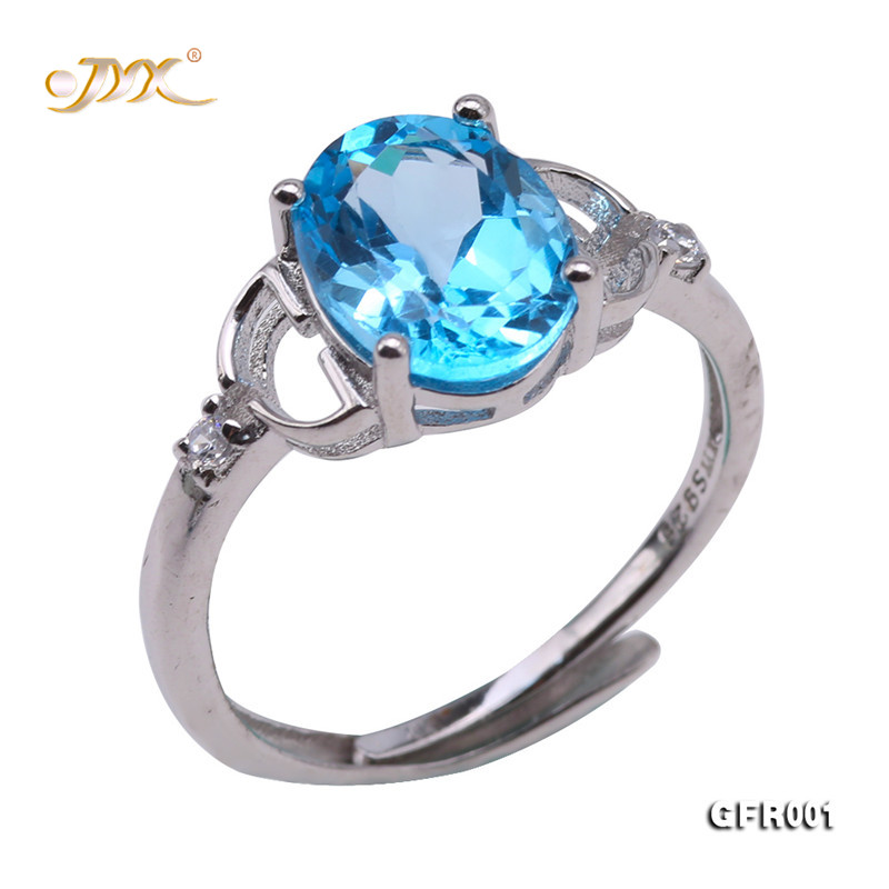 Adjustable Ring Jewelry Gift Blue Topaz Holiday 925 JYX for Women Everyday Faceted Drop-Shaped