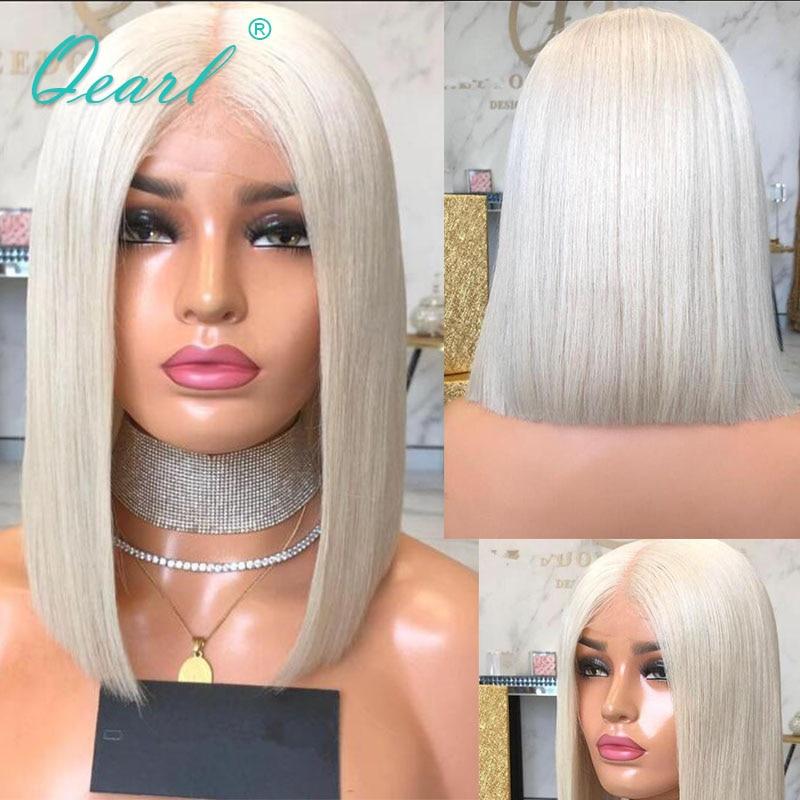 Short Bob Transparent Lace Platinum Blonde Human Hair Wig Straight Lace Front Wigs Peruvian Remy Hair 13x4 130% 150% Qearl