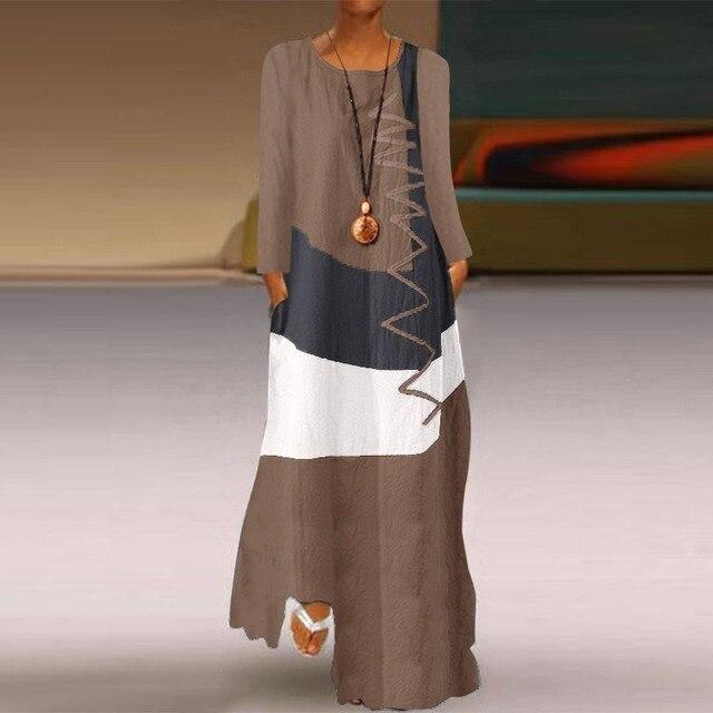 Фото женское длинное платье осеннее повседневное модное лоскутное цена
