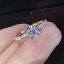 Novo design de noivado de cristal na moda venda quente anéis para mulheres aaa branco zircão cúbico elegante anéis jóias femininas cor prata