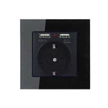 Type 86 Black mirror switch Household Wall TV Computer socket LED Light- Point switch 1 2 3 4 gang 1 2 way  EU socket USB 17