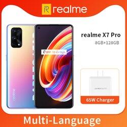 Realme x7 pro 8gb 128gb smartphone 5g 6.4 polegada 120hz amoled tela 64mp quad câmeras 4500mah 65w carregador rápido 7nm dimensão 1000 + octa núcleo nfc