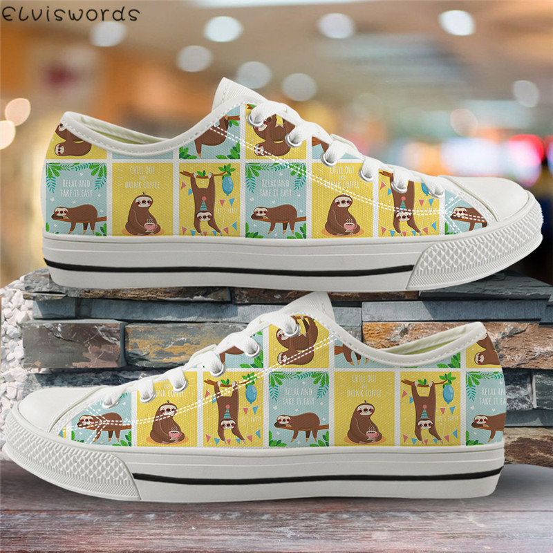 ELVISWORDS Cartoon Lazy Sloth Print Low Top Flats Fashion Ladies Canvas Spring Vulcanized Shoes Casual Women Comfortable Zapatos