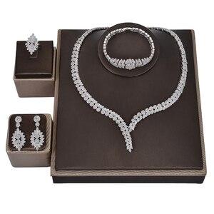 Image 3 - תכשיטי סט HADIYANA קסם שרשרת עגילי טבעת צמיד מתנת כלה חתונה אלגנטית לנשים באיכות גבוהה CNY0046 Bisuteria
