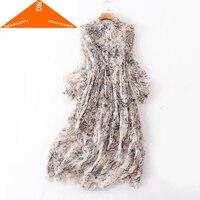 100% Real Summer Silk Women Vintage Long Embroidery Floral Dresses Femela Elegant Vestidos Lady Evening Party Dress