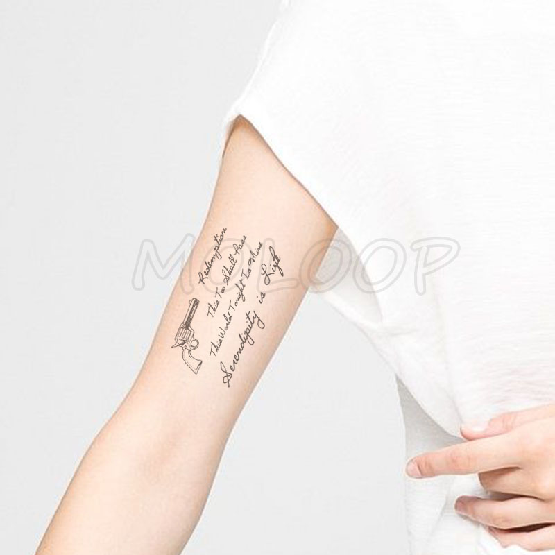 Water Transfer Sexy Black Letter Pistol Tattoo Body Art Waterproof Temporary Fake Flash Tattoo For Man Woman Kid 10 5 6 Cm Temporary Tattoos Aliexpress