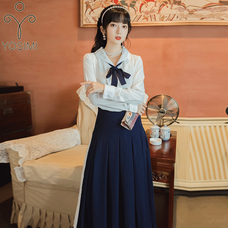 YOSIMI 2 Piece Outfits for Women 2020 Autumn Full Sleeve White Shirt Top and Long Pleated Navy Skirt Sets Preppy Style Set Suit