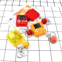 New Mini Classic Game Keychain Men Retro Nostalgic Children's Handheld Toy Tetris Key Chain Bell Car Key Ring Bag Charms Trinket