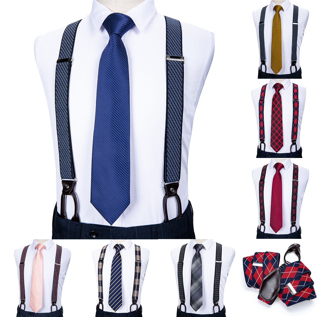 DiBanGu Men Suspender Elastic Leather 6PCS Button Braces Vintage Men Women Suspenders For Skirt Trousers Wedding Suspensorio
