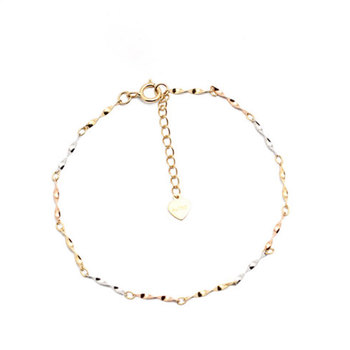 Glitzy 18K True Real Solid Gold AU750 Tri Tone Singapore Chain Bracelet Bangles for Women Girl Gift Party Upscale Fine Jewelry