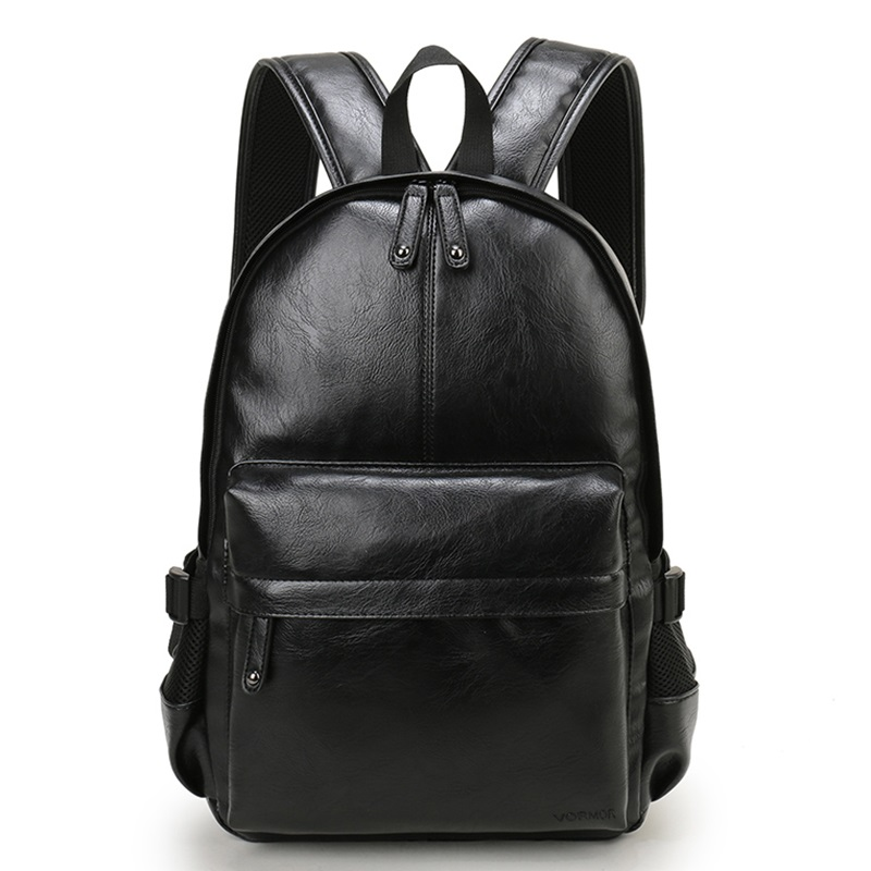 Men's Backpack PU Leather Ladies College School Bag Fashion Waterproof Travel Bag Casual Leather School Bag Men