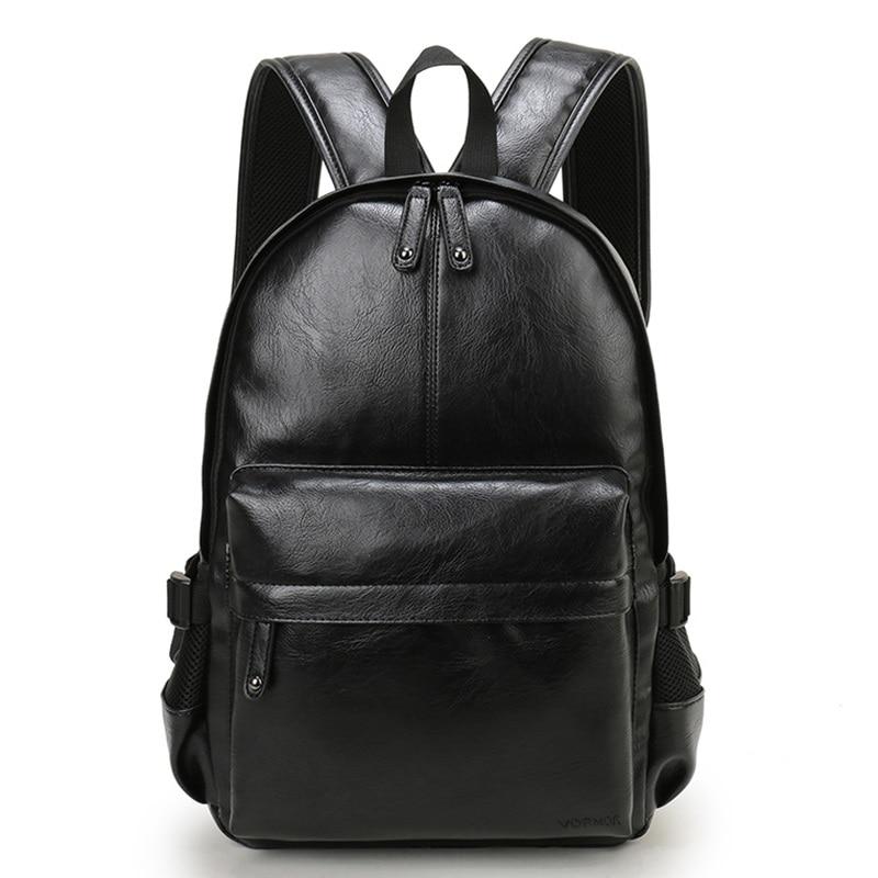 Men's Backpack PU Leather Ladies College School Bag Fashion Waterproof Travel Bag Casual Leather School Bag Men