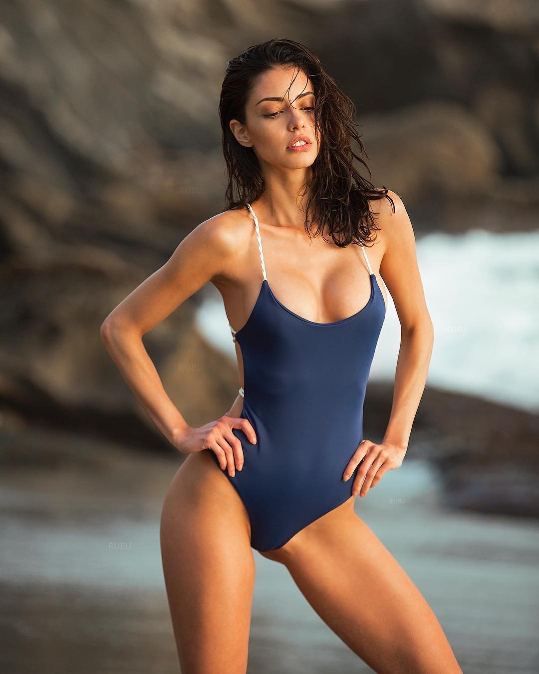 2020 <font><b>AliExpress</b></font> Ebay Europe and the <font><b>United</b></font> <font><b>States</b></font> foreign trade new solid color big bare back sexy one-piece swimsuit high waist image