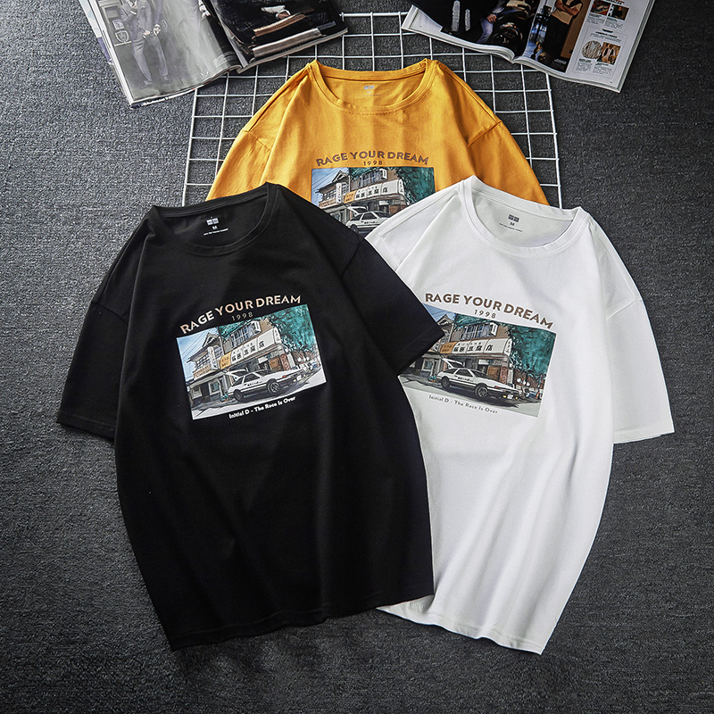 MANLORIC 100% Cotton Loose Casual Various Fashion Pattern Printing Men's T-shirt  Hip Hop Top Tees Streetwear Summer T-Shirt