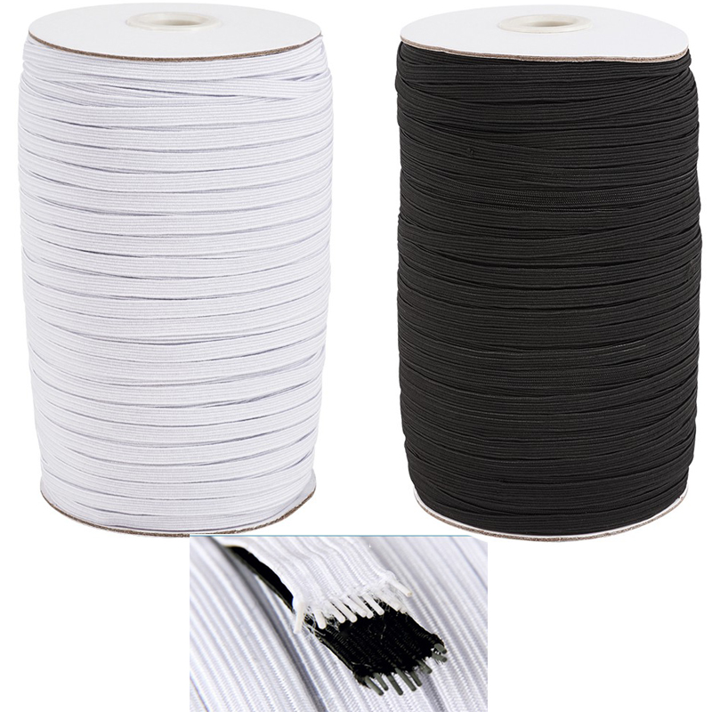 1 Roll 4/5/6/8/10/12/14mm Flat Elastic Cord Rope String Belt Sewing Stretch Black White Color For Jewelry Making