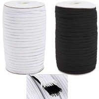1 rollo 4/5/6/8/10/12/14mm cuerda elástica plana correa de hilo de coser elástico Color blanco y negro para hacer joyas