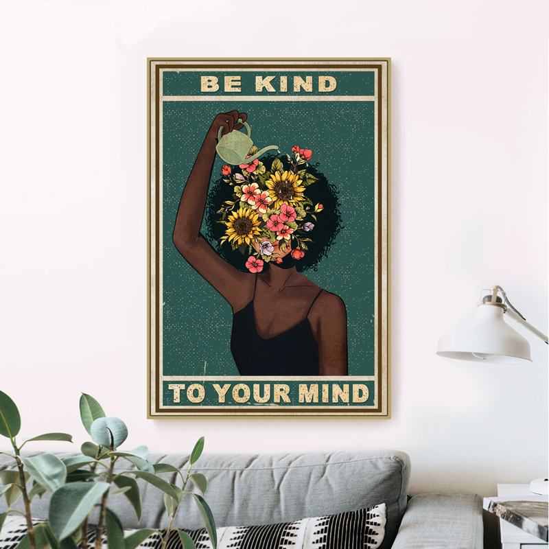 Health Poster Painting Art-Prints Positive Home-Decor Vintage Canvas Mental-Be-Kind-To-Your-Mind