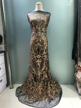 French Net Lace Fabric 2019 Latest African lace fabric With Sequins Mesh Tulle Black and Gold Sequins Lace Fabric VS-JL25831
