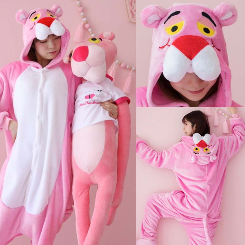 Pajamas For Women Flannel Adult Animal Pijama Unicorn Nightwear Cosplay Pyjama Totoro Homewear Sleepwear Pink Panther Nightgown