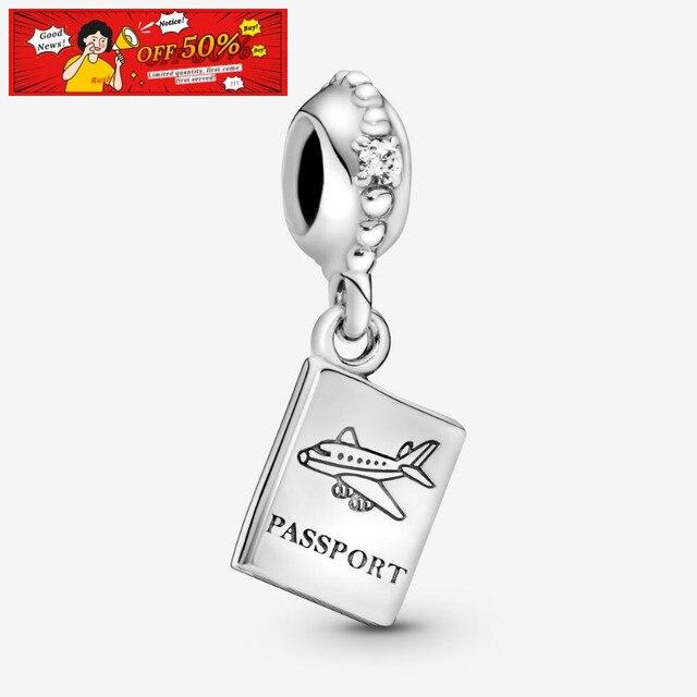 925 bijoux en argent Sterling perles passeport voyage balancent charme ajustement Original Pandorador Bracelets femmes bricolage cadeau de mode