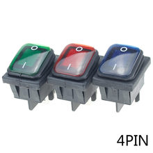 1Pcs On Off 12V/220V Heavy Duty 4 Pin DPST IP67 กันน้ำAutoเรือMarine toggle Rocker Switch LED 12V 220V 22*27(China)