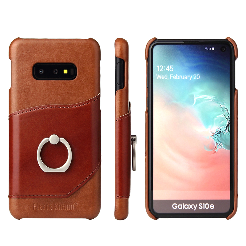 Luxury Genuine Back Card holder Phone <font><b>Case</b></font> for Samsung Galaxy S10 S8 plus S10e <font><b>Note</b></font> 10 8 <font><b>9</b></font> S20 plus Ultra Finger <font><b>ring</b></font> Back Cover image