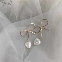 Korean 2020 new design big bow sweet heart pearl simulated earrings